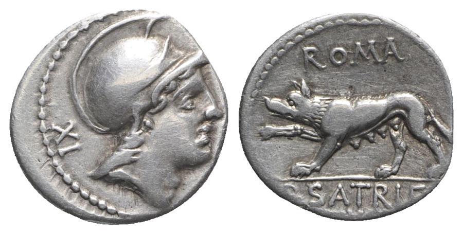 Ancient Coins - ROME REPUBLIC P. Satrienus, Rome, 77 BC. AR Denarius.  R/ She-wolf