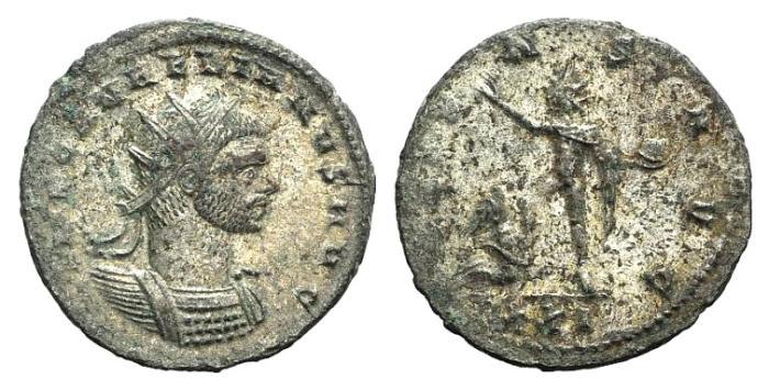 Ancient Coins - Aurelian. AD 270-275. Antoninianus. Cyzicus mint. c. AD 274. R / ORIENS AVG, Sol
