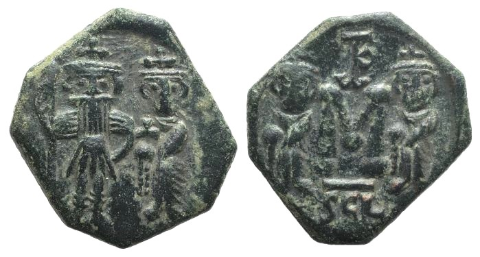 Ancient Coins - Constans II (641-668). AE 40 Nummi. Syracuse, 659-668.