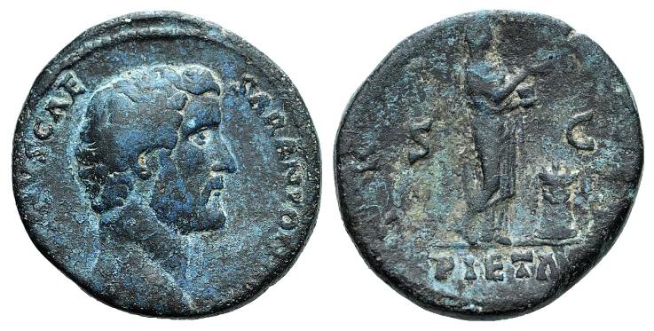 Ancient Coins - Antoninus Pius (138-161). Æ Sestertius. Rome. R/ Pietas