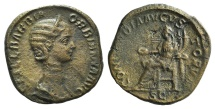 Ancient Coins - Orbiana, wife of Severus Alexander. Augusta, AD 225-227. Æ Sestertius. Rome mint. Struck AD 225 R/ CONCORDIA