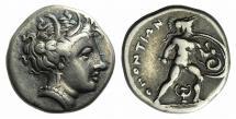 Ancient Coins - LOKRIS, Lokri Opuntii. Circa 340-330 BC. AR Triobol. R/ Ajax