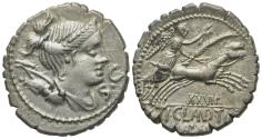 Ancient Coins - ROME REPUBLIC Ti. Claudius Ti.f. Ap.n. Nero, Rome, 79 BC. AR Serrate Denarius. Draped bust of Diana. R/ Victory driving galloping biga
