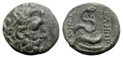 Ancient Coins - Mysia, Pergamon, c. 133-27 BC. Æ - Asklepios / Serpent on omphalos