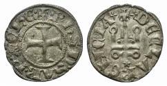 Ancient Coins - CRUSADERS, Principality of Achaea. Philippe de Savoy. 1301-1307. BI Denier. Clarencia (Glarentza) mint.