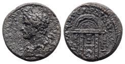 Ancient Coins - Hadrian (117-138). Lydia, Sardis. Æ - R/ Temple of Aphrodite at Paphos