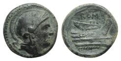 Ancient Coins - ROME REPUBLIC Anonymous, Rome, c. 217-215 BC. Æ Quartuncia. Helmeted head of Roma  R/ Prow of galley SCARCE
