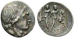 Ancient Coins - ROME REPUBLIC L. Memmius, Rome, 109-108 BC. AR Denarius. R/ The Dioscuri standing facing before their horses