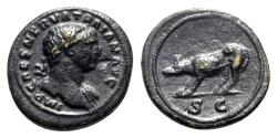 Ancient Coins - Trajan (98-117). Æ Quadrans - Rome - R/ Boar