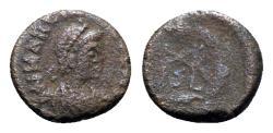 Ancient Coins - Marcian (450-457). Æ 9.5mm. Uncertain mint.  R/ Monogram