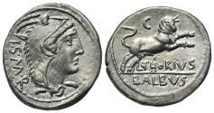 Ancient Coins - ROME REPUBLIC L. Thorius Balbus, Rome, c. 105 BC. AR Denarius. Head of Juno Lanuvium R/ Bull charging EXTREMELY FINE