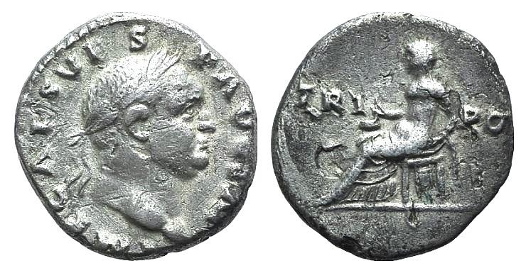 Ancient Coins - Vespasian (69-79). AR Denarius - R/ Vesta