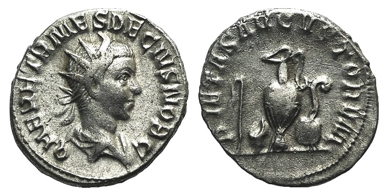 Ancient Coins - Herennius Etruscus. As Caesar, AD 249-251. AR Antoninianus R/ Sprinkler, simpulum, jug, patera and lituus