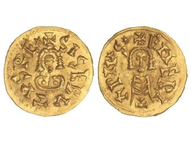 World Coins - VISIGOTHS, Spain. Sisebut. 612-621. GOLD Tremissis. Emerita (Mérida) mint. EXTREMELY FINE