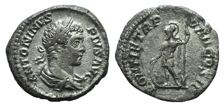 Ancient Coins - Caracalla (198-217). AR Denarius. Rome, 206.  R/ Mars