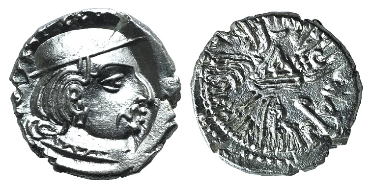 Ancient Coins - Silver drachm of King Rudrasena II (255-278 AD), dated 197 SE = 275 AD, Satraps in Western India EF