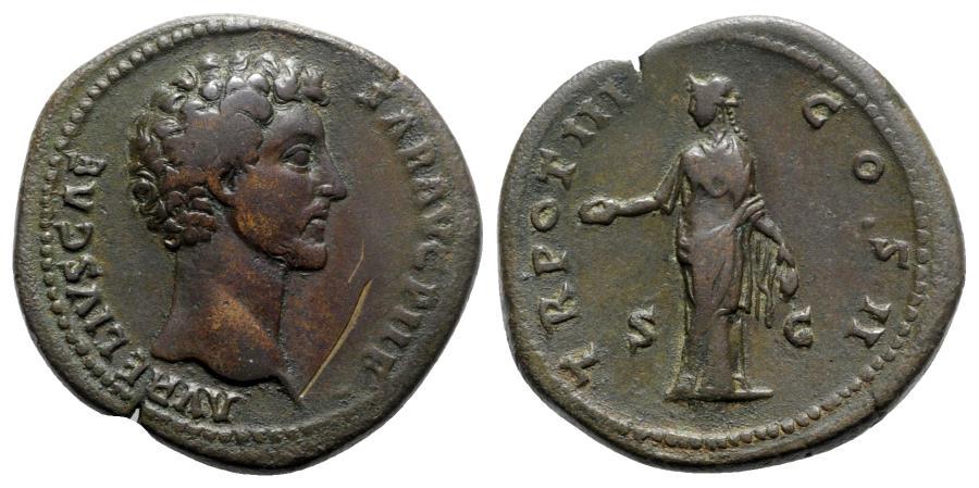 Ancient Coins - Marcus Aurelius (Caesar, 139-161). Æ Sestertius - R/ Clementia