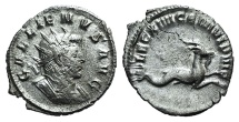 Ancient Coins - Gallienus. AD 253-268. AR Antoninianus. Legionary issue. Mediolanum mint., circa AD 258. / Legion XIIII (Gemina Marcia Victrix)