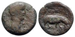 Ancient Coins - Tiberius (14-37). Egypt, Alexandria. Æ Obol - R/ Hippopotamus