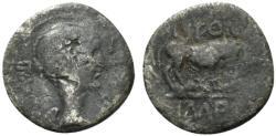 Ancient Coins - Mark Antony, Lugdunum, early 42 BC. AR Quinarius. Bust of Victory (Fulvia). R/ LION