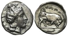 Ancient Coins - ITALY. Southern Lucania, Thourioi, c. 400-350 BC. AR Stater R/ BULL