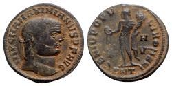 Ancient Coins - Maximianus (286-305). Æ Follis - Antioch - R/ Genius