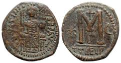 Ancient Coins - Justinian I (527-565). Æ 40 Nummi (32mm, 17.07g, 6h). Theoupolis (Antioch), c. 529-533.