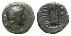 Ancient Coins - Bruttium, Hipponion as Vibo Valentia, c. 193-150 BC. Æ Sextans - Apollo / Lyre