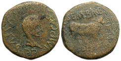 Ancient Coins - Augustus (27 BC-AD 14). Spain, Calagurris. Æ As. C. Semp. Barba and Q. Baeb. Flavus, duoviri, after 2 BC. R/ BULL