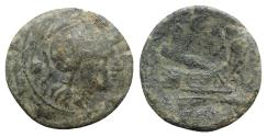 Ancient Coins - ROME REPUBLIC Anonymous, Rome, after 211 BC. Æ Uncia Head of Roma. R/ Prow of galley
