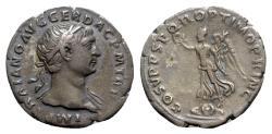 Ancient Coins - Trajan (98-117). AR Denarius - Rome - R/ Victory