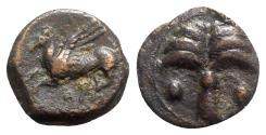 Ancient Coins - Sicily, Carthaginian Domain, c. 330-320 BC. Æ - Palm / Pegasos