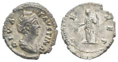 Ancient Coins - DIVA FAUSTINA SR., wife of Antoninus Pius. Died 141 AD. AR Denarius R/ CERES