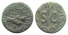 Ancient Coins - Augustus (27 BC-AD 14). Æ Quadrans. Rome; Lamia, Silius and Annius, moneyers, 9 BC. Clasped right hands holding caduceus. R/ Large S • C.