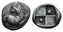 Ancient Coins - Thrace, Chersonesos, c. 386-338 BC. AR Hemidrachm. Forepart of lion