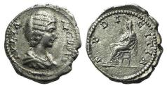 Ancient Coins - Julia Domna (Augusta, 193-217). AR Denarius. Laodicea, 198-202. R/ PUDICITIA