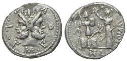 Ancient Coins - ROME REPUBLIC M. Furius L.f. Philus, Rome, 120 BC. AR Denarius. Laureate head of Janus. R/ Roma crowning trophy of Gallic arms