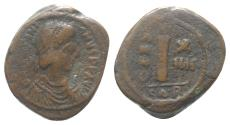 Ancient Coins - Justinian I (527-565). Æ 10 Nummi. Carthage, year 14 (540/1).