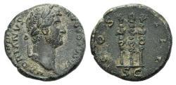 Ancient Coins - Hadrian (117-138). Æ Quadrans. Rome, 134-8. R/ Three signa.