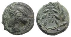 Ancient Coins - Sicily, Himera, c. 420-407 BC. Æ Hemilitron