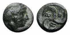 Ancient Coins - Mysia, Thebe, c. 4th-3rd century BC. Æ - Demeter / Triskeles