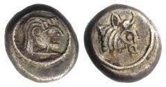 Ancient Coins - KOLCHIS, Phasis. Circa 425-325 BC. BI Half Siglos – Hemidrachm