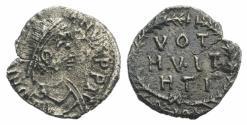 Ancient Coins - Justinian I. 527-565. AR Half Siliqua. Carthage mint. Struck 533/4-537.