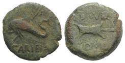 Ancient Coins - Spain, Carteia, 1st century BC. Æ Quadrans. Dolphin. R/ Rudder
