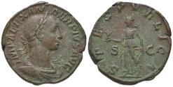 Ancient Coins - Severus Alexander (222-235). Æ Sestertius. Rome, AD 232. R/ SPES
