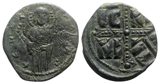 Ancient Coins - Anonymous, time of Michael IV, c. 1034-1041. Æ 40 Nummi. Constantinople. Christ Antiphonetes standing facing