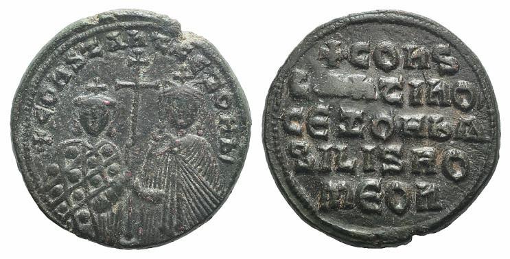 Ancient Coins - Constantine VII and Zoe (913-959). Æ 40 Nummi. Constantinople, 914-919.