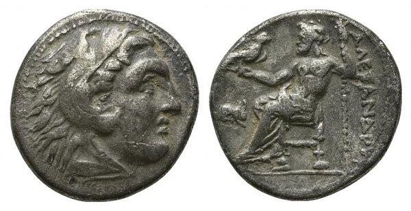 Ancient Coins - Kings of Macedon, Antigonos I Monophthalmos (Strategos of Asia, 320-306/5 BC, or king, 306/5-301 BC). AR Drachm. In the name and types of Alexander III of Macedon. Lampsakos.