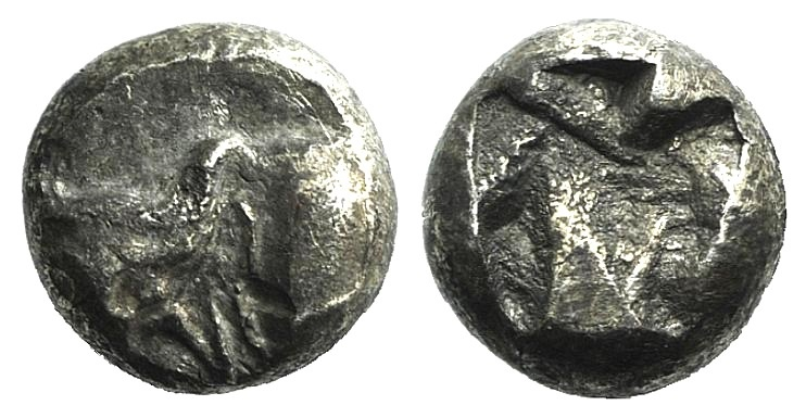 Ancient Coins - UNCERTAIN FRACTIONS OF IONIA C. 5TH CENTURY BC. AR TETARTEMORION. / HEAD AND NECK OF BULL VERY RARE