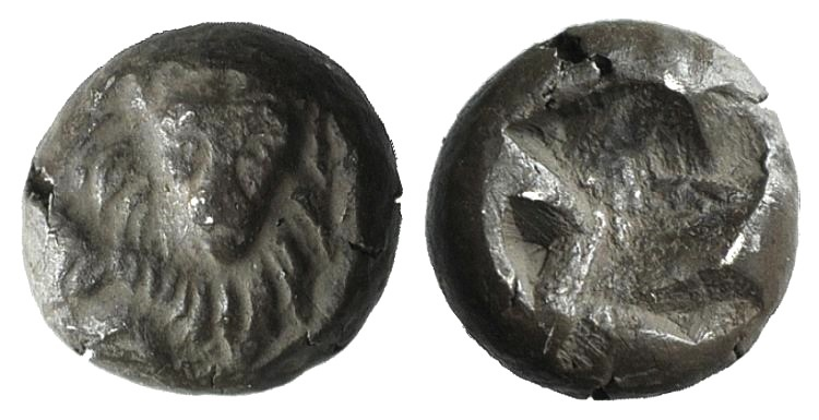 Ancient Coins - Uncertain Fractions of Ionia c. 5th century BC. AR Tetartemorion. / Lion's head facing. VERY RARE